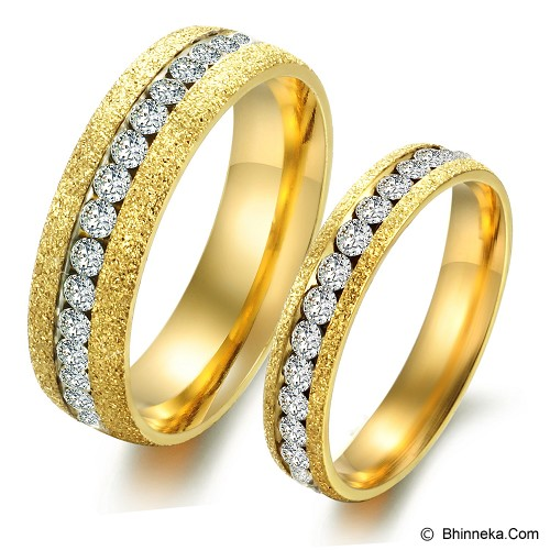 TITANIUM RING Cincin Couple Size 7(F) & 9(M) [GS255] - Gold & Gold - Cincin